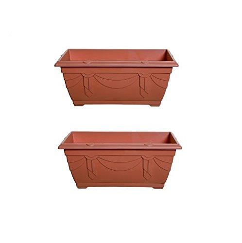 2 x Small Plastic Venetian Window Box Trough Planter Plant Pot 40cm Terracotta Colour Whitefurze