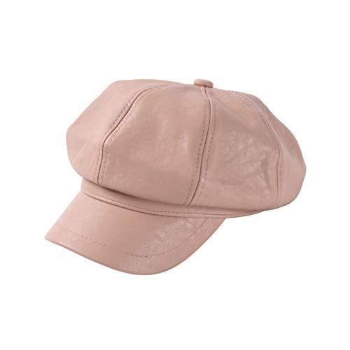 XDH-RTS Women Autumn Winter Casual Hat Pu Leather Newsboy Cap Retro Newsboy Hat Men