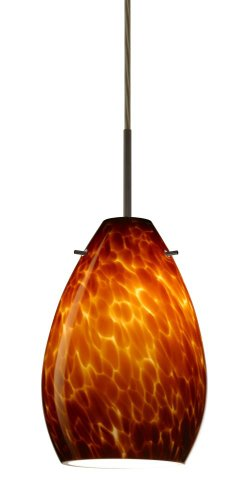 Besa Lighting 1BC-171318-BR 1X50W E12 Pera 6 Pendant with Amber Cloud Glass, Bronze Finish