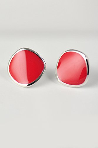 s925 Silver Square semi-Circular Ramps Illusion Based red Glaze Delicate Earrings earings Dangler Eardrop Women Girls ()