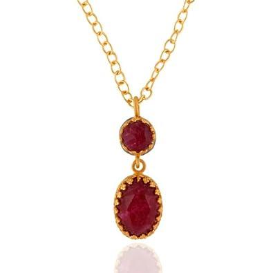 31578d8ffb653 Buy Almas Jewellery 24K Gold Vermeil Dyed Ruby Gem Birthstone ...