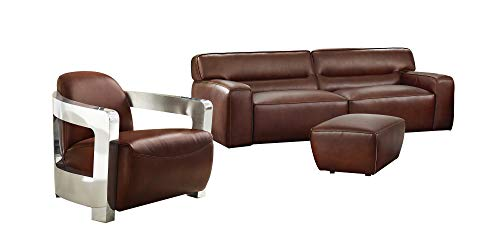 Sunset Trading Milan 3 Piece Leather Living Room Set | Sofa | Aviator Chair with Chrome Arms | Ottoman, Deep Seating, Brown (Me Ottoman Near)