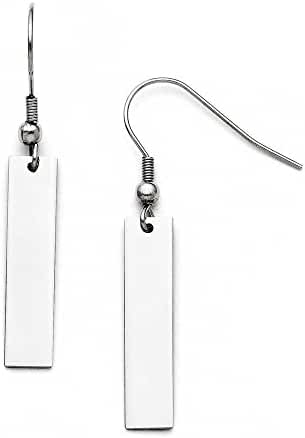Chisel Stainless Steel Polished Rectangular Shepherd Hook Earrings