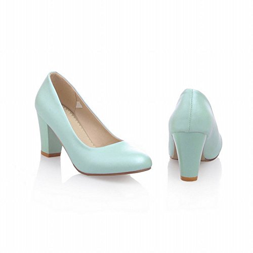 Carol Zapatos Nupcial Mujeres Grace Dancing Party Sweet Charm Alto Chunky Heel Dress Bombas Zapatos Azul