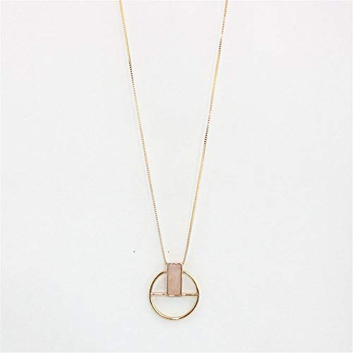 HNJingfashion Circular Pendant Necklace Natural Stone Rectangle Personality Necklace Women Accessories, Pink