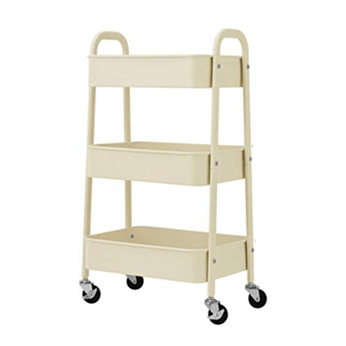 HUO 3-Tier Rolling Storage Trolley Kitchen Bathroom Floor Rack - 3 Colors-402874cm Multifunction (Color : A) by Kitchen shelf (Image #2)