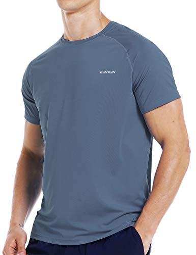 Mens Running Workout Short Sleeve T-Shirt Dry Fit Moisture Wicking Gym Athletic Shirts for Men(Grey,XXL)
