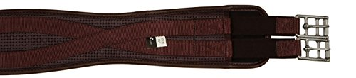 Horse Fare Products PVC Contoured English Girth with Double Elastic (Brown, 46
