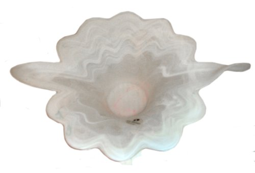 Murano Hand Blown Art Glass Bowl Unique Scallop Collectible from Italy ()
