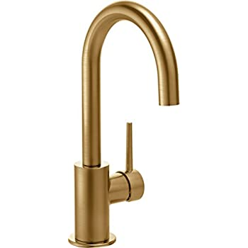 Image of Home Improvements Delta Faucet Trinsic Single-Handle Bar-Prep Kitchen Sink Faucet, Champagne Bronze 1959LF-CZ