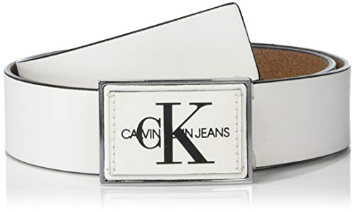 Leather Logo Plaque - Calvin Klein Men's 38mm Plaque Logo Belt, White, 38