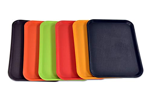 BonBon Fast Food Serving Lunch Cafeteria Trays Assorted Colors PACK OF 6 ()