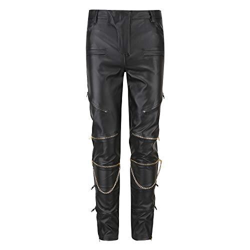 CLANMILUMS Men's Black Slim Fit Soft PU Faux Leather Biker Pants (30, Black) ()