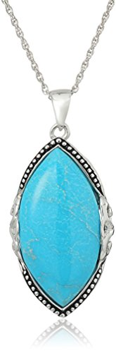 Turquoise Marquis (Sterling Silver Stabilized Turquoise Marquis Inlay Pendant Necklace, 18