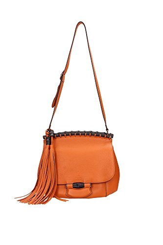 347101A7M0V7626 Gucci Satchels Women Leather Orange