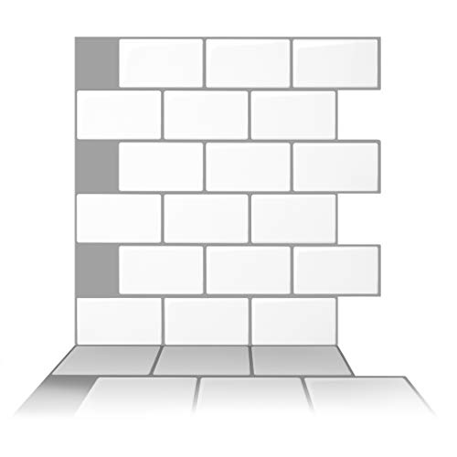 Tic Tac Tiles 10 Sheet 12quot x 12quot Peel and Stick Self Adhesive Removable Kitchen Backsplash Bathroom 3D Wall Tiles in Subway White with Gray Grout