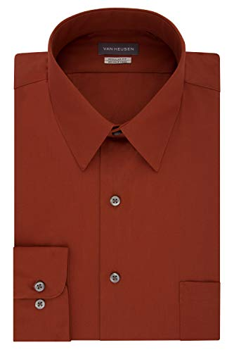 Van Heusen Men's Dress Shirt Regular Fit Poplin Solid, Persimmon, 17