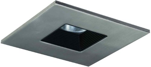 HALO Recessed TLS408SNBB 4-Inch LED Square Baffle Trim with Solite and Regressed Lens, Satin Nickel Ring