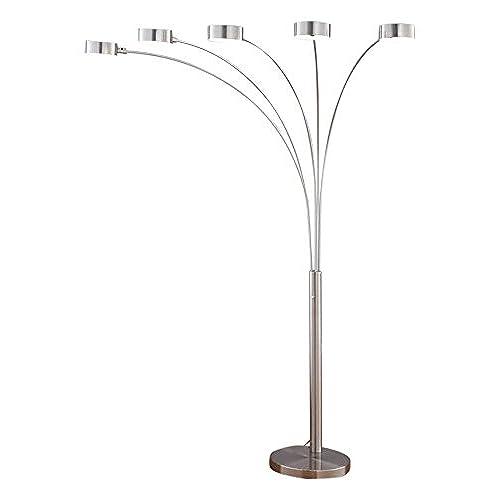 lighting corner. Artiva USA LED207901 Micah Plus Modern LED 5-Arched Satin Nickel Floor Lamp With Dimmer, 88\ Lighting Corner