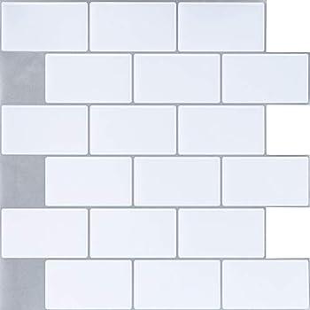 "Peel and Stick Subway Tile Backsplash,HONJAN Renters Groutless Removable Adhesive White Vinyl Backsplash for Kitchen Bathroom 10/""x10/"" Pack of 1 A"