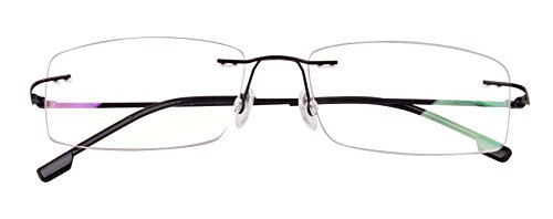 ed975806015 Agstum Titanium Alloy Flexible Rimless Hinged Frame Prescription ...