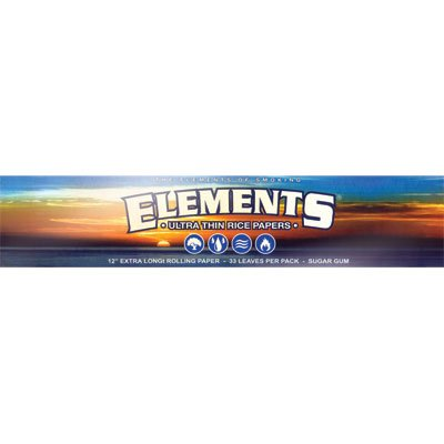 """Elements Ultra Thin Rice Cigarette Papers (12"""" Long!!) 24 Leaves Per Pack (3 Packs)"""