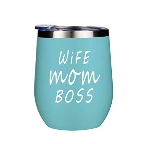 Wife Mom Boss Mug Gift Wine Glasses Funny Coffee Cup Tumbler Stemless Insulated Decorations Cups Wine Glass With Lid 12 Oz Stainless Steel Mother's Day Sayings Green
