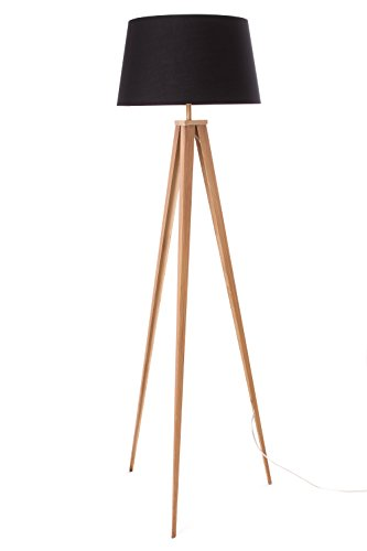 Euro Style Collection Berlin 60'' Black and Wood Print Painted Metal Tripod Floor Lamp by Euro Style Collection