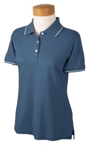 Devon & Jones Ladies' Pima Piqué Short-Sleeve Tipped Polo M Slate Blue/White (Tipped Pima Pique Polo)