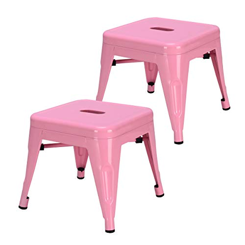 COSTWAY Kids Metal Stools Steel Barstools Vintage Antique Style Counter Bar Stool Pink, Set of 2