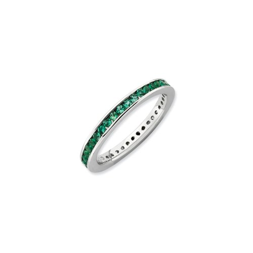 Sterling Silver Stackable Created Emerald Channel Eternity Band Sz 10