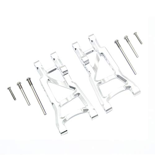 Volity Livoty 2-Pack Front & Rear Aluminum Suspension Arms Replacement of 3655x for RC Traxxas 1/10 Slash Traxxas 1/10 Slash 2WD RC Car Option Upgrade Part Hop Ups (Silver - Rear)