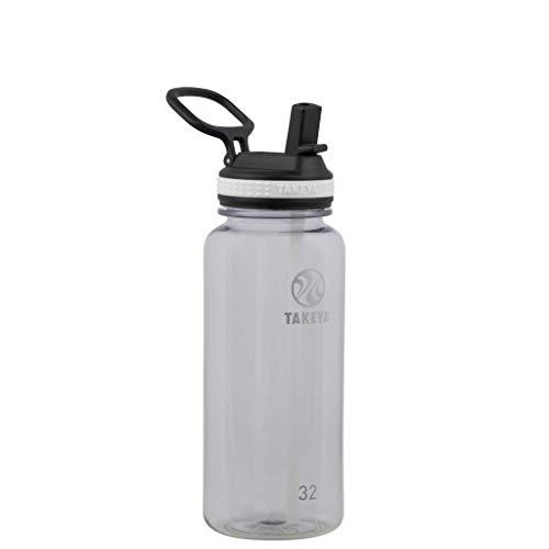 Takeya 50234 Tritan Sports Water Bottle with Straw Lid, 32 oz, Clear