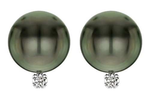 - 14k White Gold AAA Tahitian Cultured Pearls with 1/10cttw Diamond (H-I Color, I1-I2 Clarity) Stud Earrings