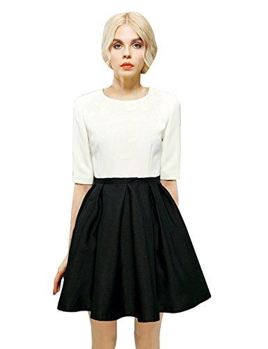 Elf Sack Womens' Spring Dress Half Sleeve Color Block Medium Size White