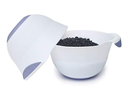 Honla 3 Quart Plastic Mixing Bowl,Set of 2,with Easy Grip Handle,Non Slip Bottom,Pour Spout,Measurement Marks,Flexible and Unbreakable,White,Blue ()