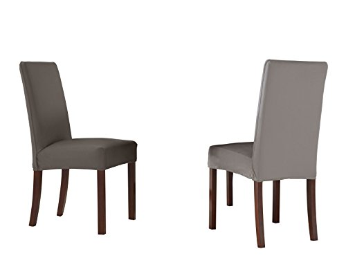 Reversible Skirt Spandex (Serta Reversible Stretch Slipcover Dining Chair, Short Skirt (4 Pack), Graphite/Grey, 4 Piece)
