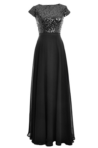 Schwarz Dress Gown Women Birdesmaid Wedding Long Cap Party Chiffon Sleeve Sequin MACloth Pwq4x010
