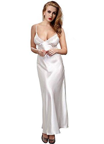 7c3a6bd47539e ETAOLINE Women s Long Nightdress Full Length Nightwear Lace Trimmed  Sleepwear Ladies Nightie Chemise Negligee