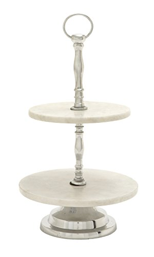 Deco 79 47545 Aluminum Marble 2 Tier Tray, 10'' x 17'' by Deco 79
