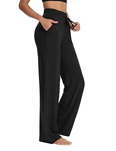 Sarin Mathews Womens Yoga Sweatpants Wide Leg Lounge Pajamas Pants Comfy Drawstring Workout Joggers Pants with Pockets