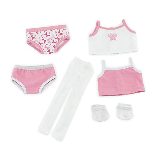 Emily Rose 18 Inch Doll Clothes | Mix & Match 6-Piece Basic Underwear Set, Includes 2 Bottoms, 2 Tank Tops, White Socks and White Tights| Fits American Girl Dolls | Gift Boxed!