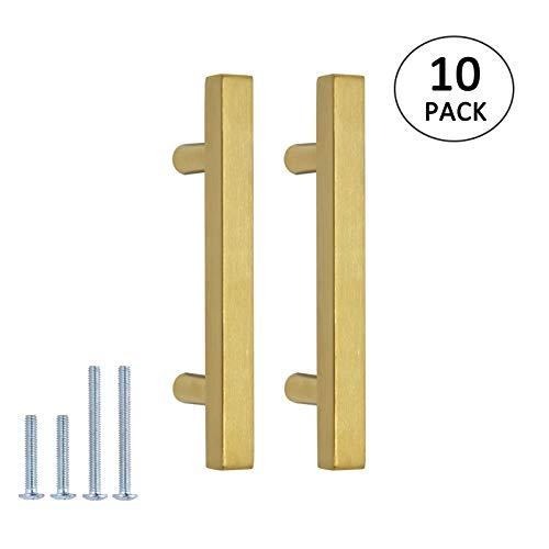 10PACK Brushed Brass Cabinet Handles 3 inch Hole Centers Square T Bar Dresser Cupboard Door Pull 5