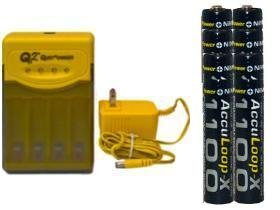 Quest Q2 Smart Charger & 8 Aaa 1100 Mah Nimh Acculoop-X Batteries (Low Discharge)