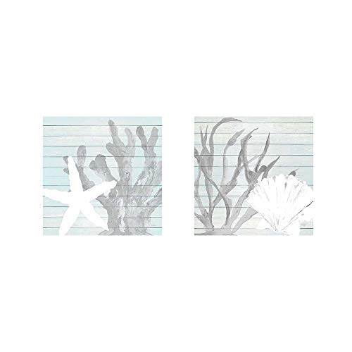 Starfish & Seashell on Blue Wood by Julie DeRice, 2 Piece Art Print Set, 12 X 12 Inches Each, Bathroom Art