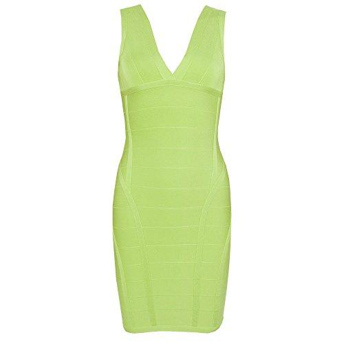 Grün Partei Kleid Kunstseide Schichtung V Ausschnitt Tiefem Hell HLBandage Verband Damen vOqn76R