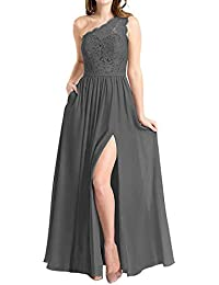 577468844309 Women's One Shoulder Long Evening Dress Lace Chiffon Bridesmaid Dress Side  Split Prom Gowns