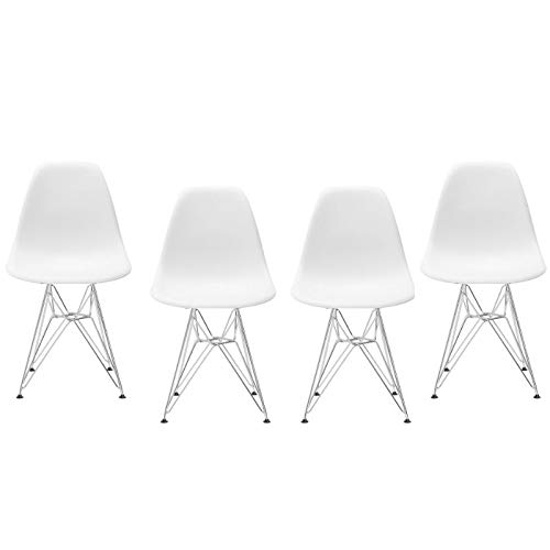Take Me Home Furniture Eames Style Side Chair with Chrome Legs Eiffel Dining Room Chair Black