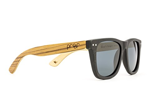 Proof Ontario Wood - Handcrafted Wooden Wayfarer Sunglasses, Black Maple / Zebra, Gray - Sunglasses Proof Wood