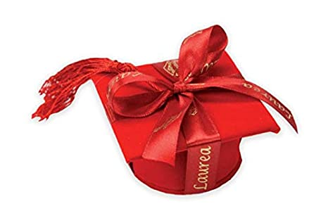 12 PEZZI Cappello tocco laurea portaconfetti ROSSO NASTRO ESCLUSO bombon 5fb8d531bb17